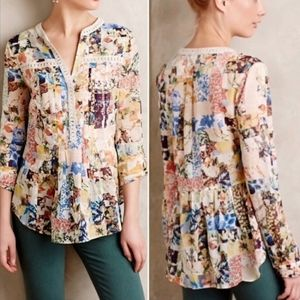 Anthropologie/Maeve Alella pintuck floral